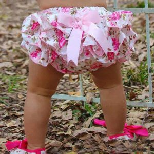 Baby Girls Cotton Panties Floral-Silk-Bow Satin Shorts Ruffle Diaper Cover