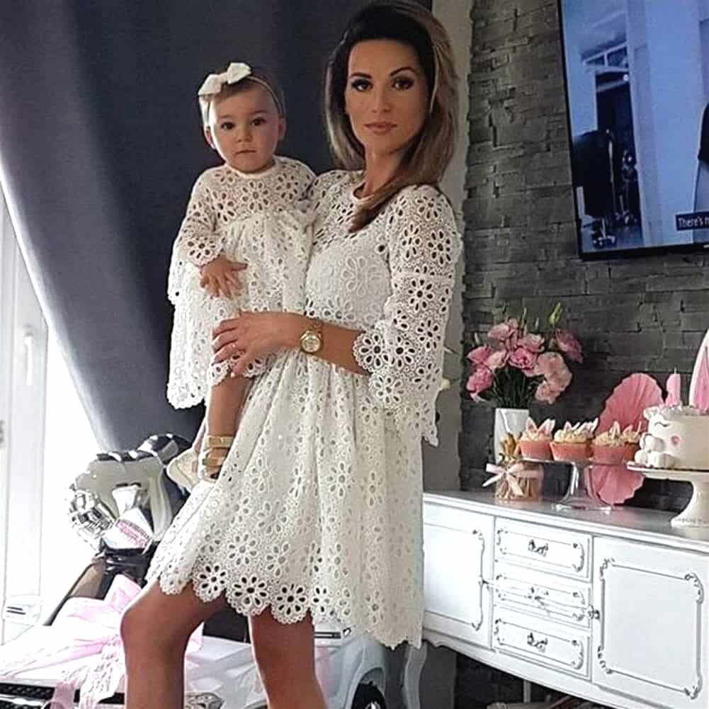 14ec4495eddc6 Mother and Daughter Long Sleeve Dress for Wedding Party