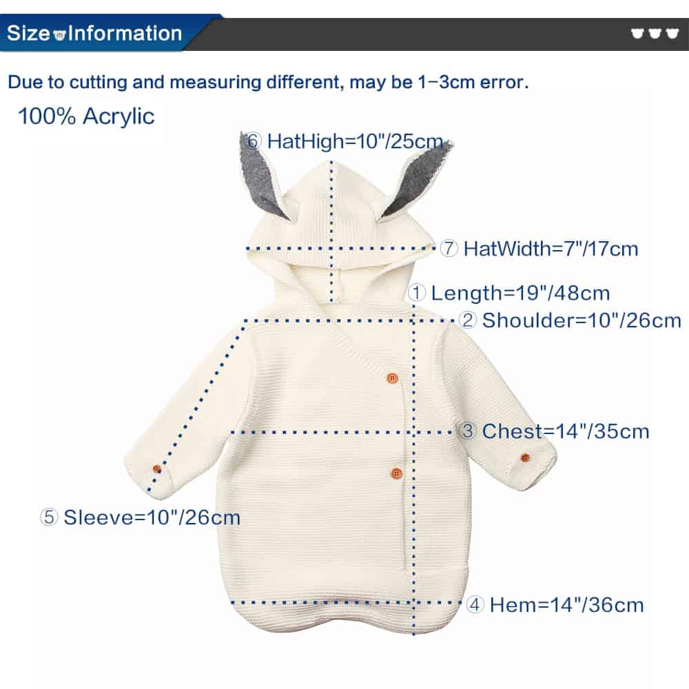 Rabbit Baby Swaddle Wrap Sleeping Bag dimentions