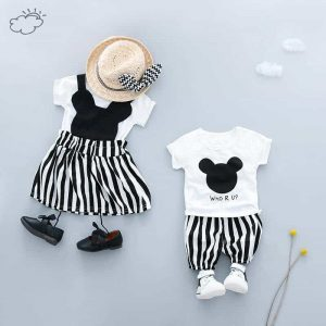 Summer Baby Brother and Sister Mickey Mouse T Shirt Dress/Shorts