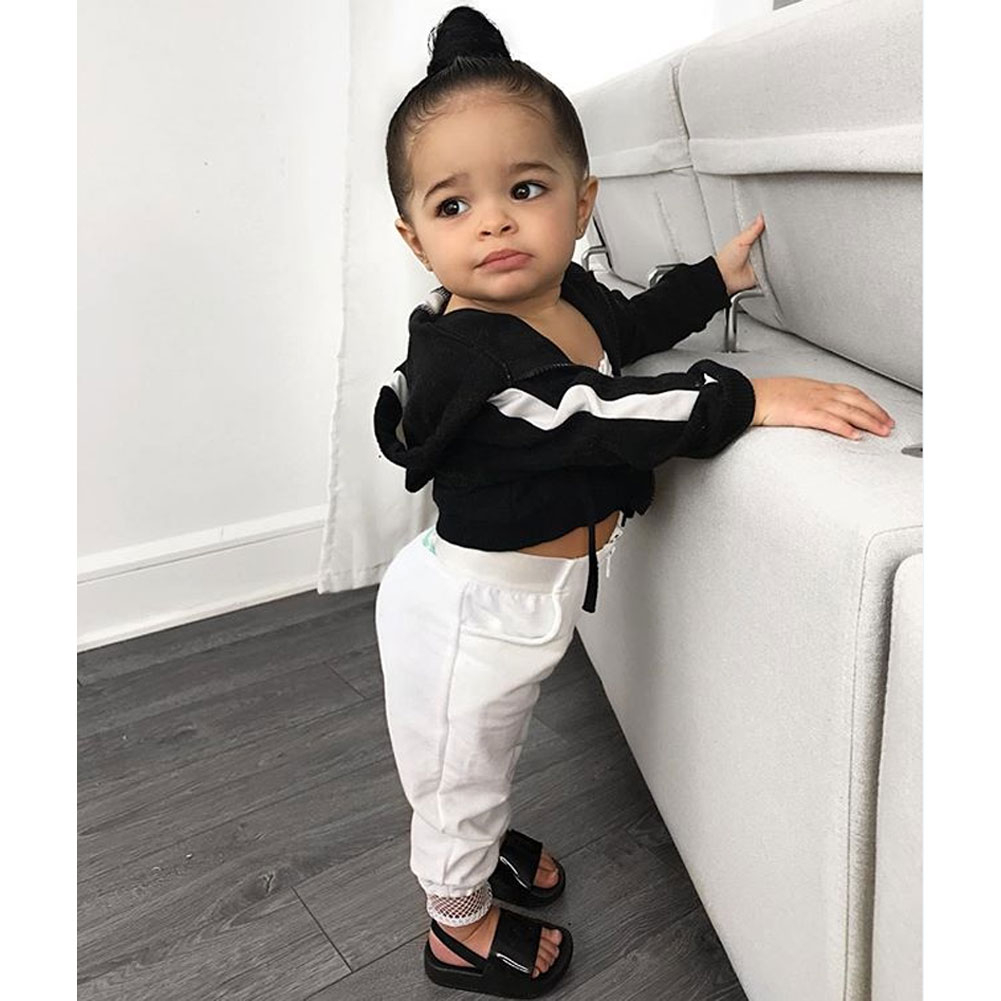 Sport Style Fashion Baby Girl Set Mesh Sling Top + Trousers